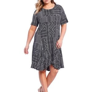 Chelsea and Theodore Plus Mixed Boxed Stripe Dress